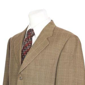 Brooks Brothers Brown Beige Check Wool Sport Coat